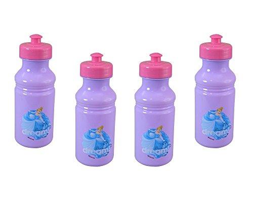 Disney - Juego de 4 Botellas de Agua con diseño de Princesa Cenicienta para niños, 45 ML, Color Morado y Rosa