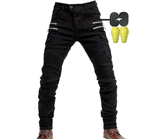 Hombres Pantalones De Motociclismo para Pantalones De Carreras De Motocross con Pantalones Anti Caída,Jeans de Moto, 4 x Equipo de protección (Negro, 35W / 32L)