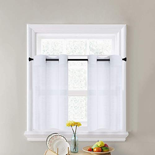 CUTEWIND White Kitchen Sheer Tier Curtains 36 Inch Length Bathroom Short Window Sheer Curtains Linen Texture Grommet Top Small Half Window Treatment (2 Panels, White, W25×L36 Inches)