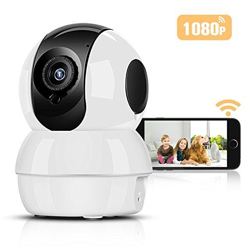 1080P Überwachungskameras Fernüberwachung Nachtsicht Netzwerk Kameras Heimüberwachung 2 Megapixel Pflege Haustier Kamera Wireless mit iPad/iPhone/Android Allgemeine Gerät kompatibel, Hommie, Weiß