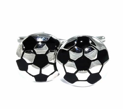 Gemelolandia | - Gemelos balón fútbol de forma redonda, color blanco y negro Gemelos Originales Para Camisas | Para Hombres y Niños | Regalos Para Bodas, Comuniones, Bautizos y Otros Eventos
