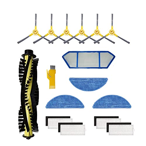 Kit de accesorios MIKONG para CREATE IKOHS NETBOT S15 IKOHS NETBOT S15 Robot Aspirador Piezas de repuesto 15 paquetes Cepillo principal y filtro y cepillo lateral y paño de fregona