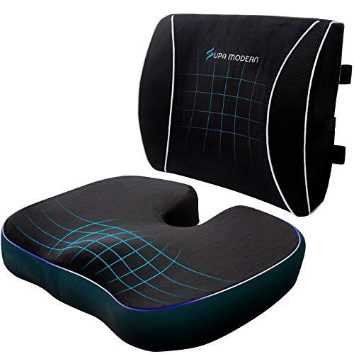SUPA MODERN Sitzkissen für Bürostuhl, Gaming-Stuhl, Memory-Schaum-Sitzkissen und Lendenwirbelstützkissen, 3D-atmungsaktives Netzgewebe, Lendenwirbelstütze für Rollstuhl, Zuhause, Auto-Rückenkissen