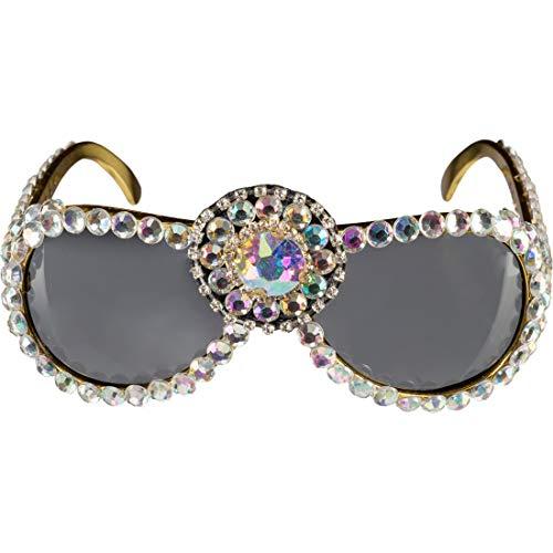 Amakando Prollige Sonnenbrille mit Pailletten Tussi / Gold-Perlmuttfarben / Ausgefallenes Frauen Kostüm-Accessoire Disco Chickse / Ideal zu Fasching & Fastnacht