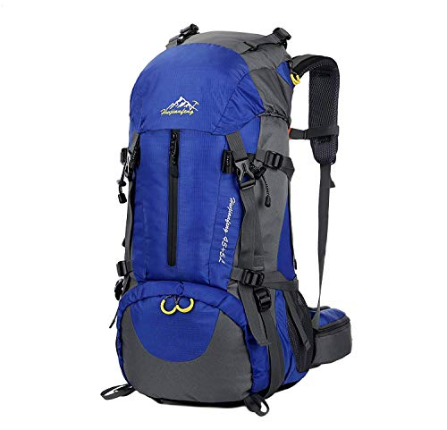 Hiking Backpack, Esup 50L Multipurpose Mountaineering Backpack with rain cover 45l+5l Travel Camping Backpack, Suitable for Climbing Skiing Outdoor Sport, Perfect Fathers Day Gifts (Sky Blue-50L)