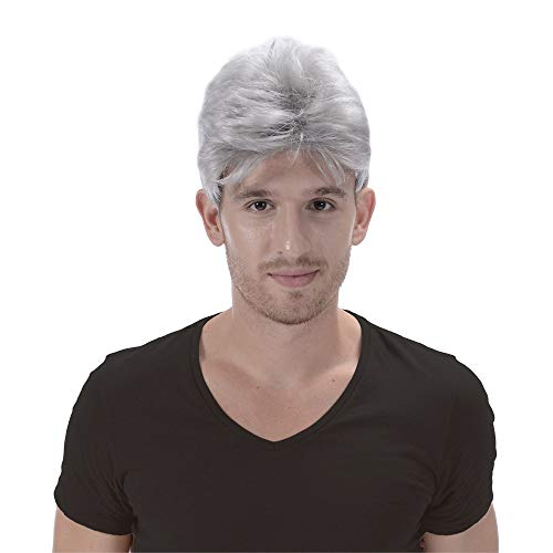 Gray Cosplay Short Wigs for Men-Grey Costume Party Christmas Halloween Cheap Synthetic Wig with Cool Bangs