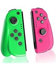 TUTUO Wireless Controller per Switch, Bluetooth Joystick Gamepad Sostituzione per JoyCon, Dual Motori Axis Gyro Compatibile con Nintendo Switch PRO (Verde e Rosa)