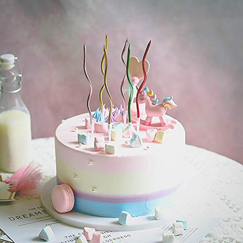 Twisty Birthday Candles Set,Metallic Colorful Curly Coil Candles,Creative Fun Long Thin Wedding Birthday Candles Set,Party Supplies,Cake Decoration,6 Pack (Silver)