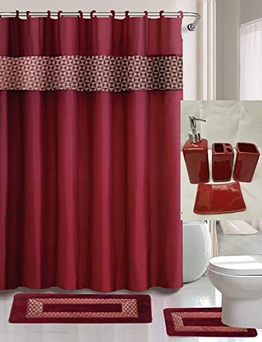 GorgeousHomeLinen Printed 15Pc + 4Pc Solid Ceramic Complete Bathroom Bath Mat Set with Shower,Hooks and Ceramic Accessories in Assorted Colors (Fresco Burgundy)