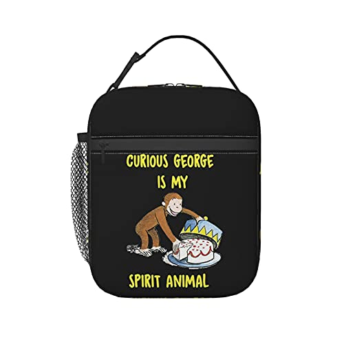 Curious George Insulated Lunch Bag For Women/Men - Reusable Lunch Box For Office Work School Picnic Beach - Leakproof Cooler Tote Bag Freezable Lunch Bag With Adjustable Shoulder Strap For Kids/Adult