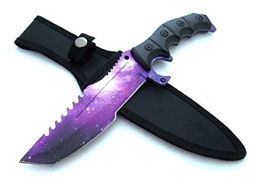 Huntsman - Galaxy Edition - Messer mit Tasche - Freizeitmesser - Regenbogen Messer - festehende Klinge - Fulltang - Freizeitmesser - Outdoor - Survival, lila schwarz