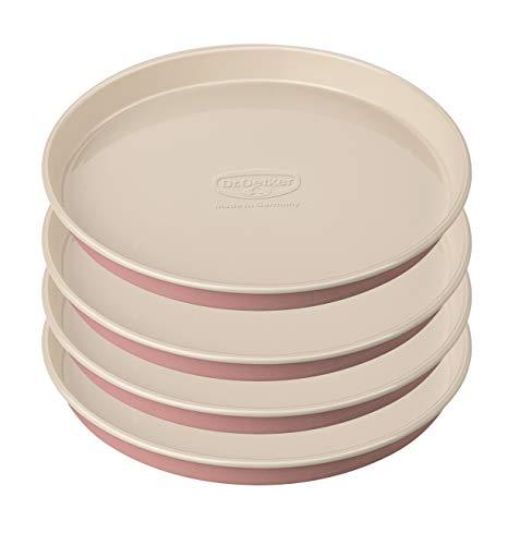 Dr. Oetker Schichtkuchen-Backform Baking - Retro Design, runde Kuchenform mit zweifarbiger (Farbe: Rosa/Creme), Menge: 4 Stück