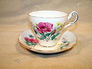Regency English Bone China Pink Blue & Yellow Flowers Pattern Tea Cup and Saucer Set