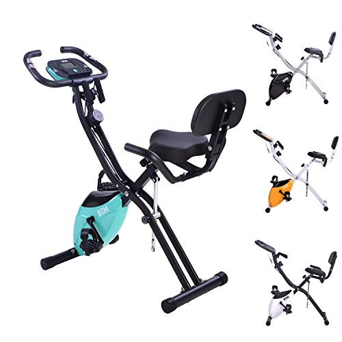 Wechoide Bicicletta pieghevole per allenamento al chiuso X Bike per allenamento cardio a casa con volano e fasce di resistenza del braccio