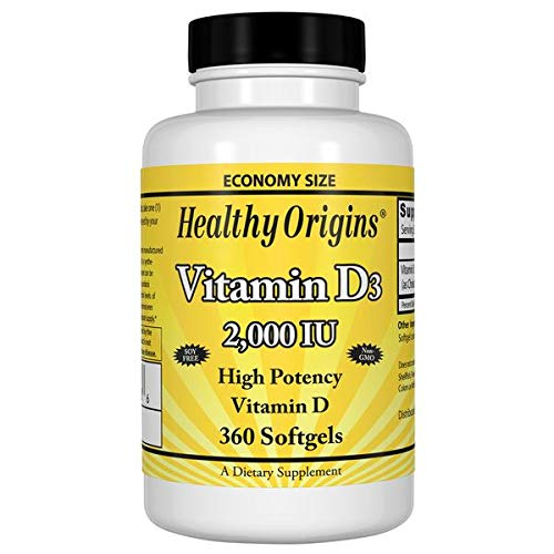 Healthy Origins - Vitamin D3 2000iu x 360 Softgels (Full Year Supply) | High Strength Immune Booster Vitamin D Supplement | Highly Absorbable Liquid Softgel Form | Gluten-Free | Soy-Free | Yeast-Free | Sugar Free