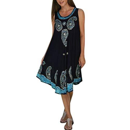 Vestidos Casuales de Verano para Mujer Vestido de Manga Corta con Columpios y Bolsillos-Vestido De Encaje De Gran Tamaño Falda Mujers Fiesta Noche con Cuello Redondo Vestido Casual De Vestido