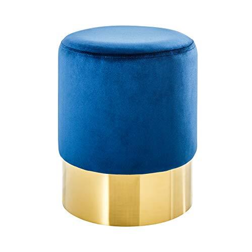 Invicta Interior Elegante kruk MODERN BAROK fluweel klein salontafel kleurkeuze voetenkruk kruk fluweel barok BxHxT: 35 x 41 x 35 cm Blauw goud