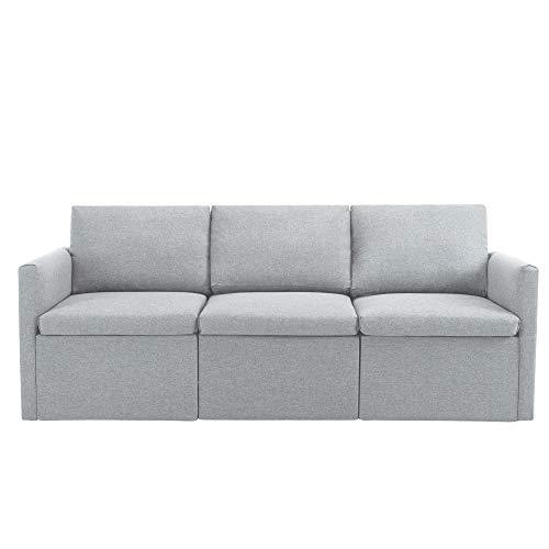 Sofa Couch Ecksofa Schlafsofa Schlafcouch Eckcouch Dreisitzer-Sofa Deep Seat Soft Fabric Sofa Dicke Polsterung Hohe Rückenlehne Nach Belieben Zusammenbauen Modernes 3-Sitzer-Sofa Couch Sofa - Hellgrau