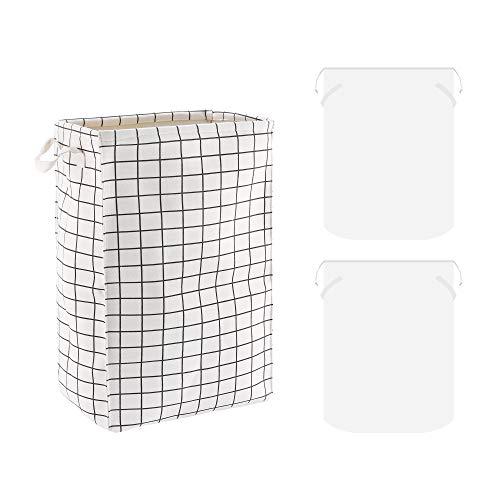 Gimars Cesto ropa sucia con tapa con 2 bolsas desmontables / Cesta plegable Impermeable con asas para ropa mojada, juguetes, libros 60 * 40 * 26cm 62L, Beige