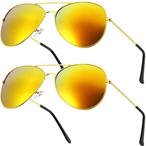 Frienda 2 Paia Occhiali da Sole Stile retrò Hippy Occhiali da Sole Abito Costume Occhiali da Sole Uomo Donna (Forma Ovale Arancione)