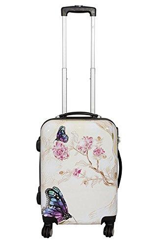 Reisekoffer Schmetterling Trolley Koffer Bowatex Polycarbonat Blume Creme 55cm M