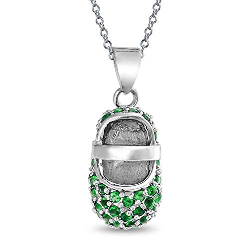 Cubic Zirconia Green Pave CZ Baby Shoe Charm Pendant Necklace Gift For New Mother Simulated Emerald 925 Sterling Silver
