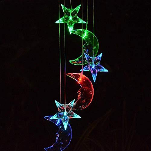 Waroomss - Campanillas de Viento solares para Exteriores, lámpara de Cambio de Color, luz Colgante móvil para Estrella de Luna, Timbre Colgante de luz para la casa, iluminación de jardín