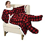 Catalonia Sherpa Wearable Blanket with Sleeves & Foot Pockets for Adult Women Men, Comfy Snuggle Wrap Sleeved Throw Blanket Robe, Gift Idea, Red Checker Plaid