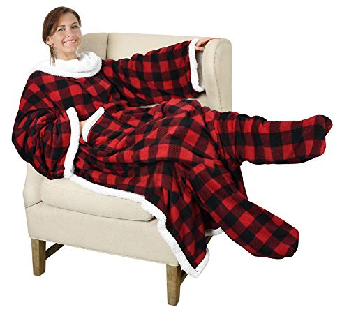 Catalonia Sherpa Wearable Blanket with Sleeves & Foot Pockets for Adult Women Men,Comfy Snuggle Wrap Sleeved Throw Blanket Robe,Gift Idea,Red Checker Plaid