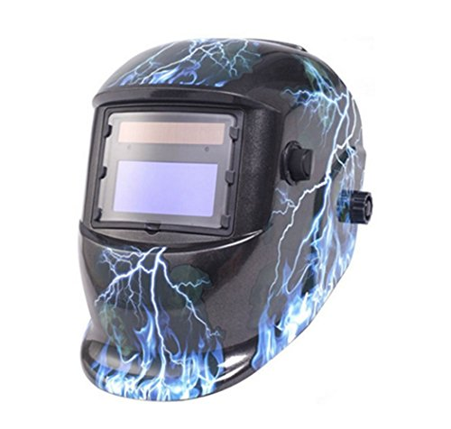 UOBEKETO Solar Auto Darkening Solar Welding Helmet Arc Tig Mig Mask Weld Welder Lens Grinding Mask with Adjustable Shade Range (lightning)