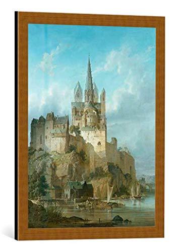 kunst für alle Bild mit Bilder-Rahmen: Gustav Adolf Hahn Der Dom zu Limburg an der Lahn - dekorativer Kunstdruck, hochwertig gerahmt, 50x65 cm, Kupfer gebürstet