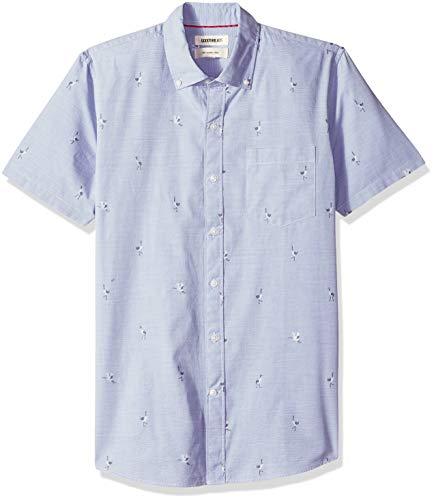 Amazon-Marke: Goodthreads Herrenhemd, kurzärmlig, schmale Passform, aus Dobby, Blau (Blue Storm Sto), US L (EU L)
