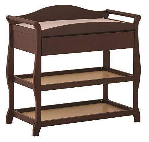 Kücheks Table à Langer Aspen avec tiroir, Cerisier, Table à Langer Design Sleigh avec Matelas à Langer et Sangle de sécurité, tiroir surdimensionné et Deux étagères de Rangement