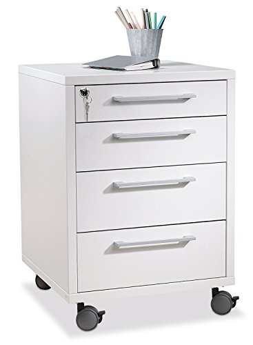 Container Rollcontainer Schubladenschrank | Weiß | 4 Schubladen | Abschließbar