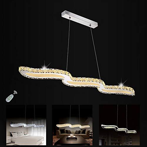 SENFAY Luxus Kristall Pendellampe LED Esszimmer-Leuchte Dimmbar Decke Modern Minimalistisch Hängelampe Kreative Pendelleuchte Esstisch-Lampe mit Fernbedienung Deckenleuchte Lange 98cm 72W Kronleuchter