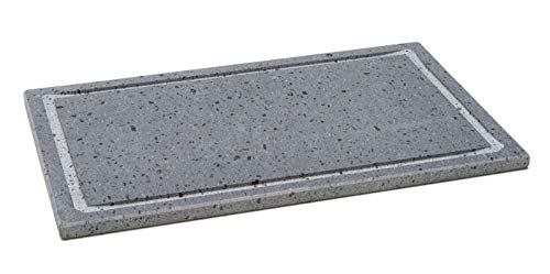 Etna Stone & Design Lava Grill Light - Parrilla de piedra volcánica etnea, placa lijada, 40 x 25 x 1,5 cm, para horno y barbacoa, cocción de carne, pescado, verduras y pizza (Light)