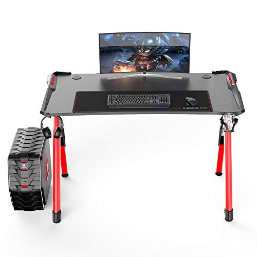 SogesHome Gaming Tisch Gaming Schreibtisch 120 x 60 cm mit LED Beleuchtung Getränkehalter und Kopfhörerhalter in Z-Form Computertisch Computertisch mit Mauspad, ST-R3-RD-SH