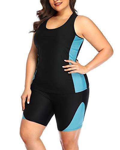 Daci Women Plus Size Tankini Swimsuit High Waisted Two Piece Racerback Swimwear Light Blue 20 Plus
