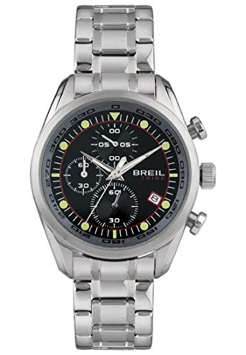 Reloj BREIL para Hombre Spoiler Esfera Monocolor Negro Movimiento Chrono Cuarzo y Pulsera Acero EW0477