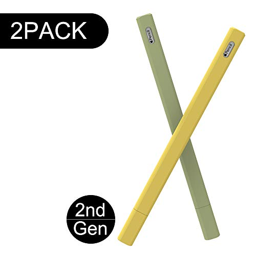 LOVE MEI Apple Pencil Holder for Apple Pencil Sleeve 2nd Generation Cute Case Cover Compatible with iPad Pro 2018 Magnetic Skin Pocket Accessories for Apple Pencil 2 Yellow/Green