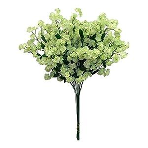 Floral Décor Supplies for 12 Baby's Breath Artificial Gypsophila Silk Wedding Flowers Centerpieces Faux for DIY Flower Arrangement Decorations – Color is Light Green