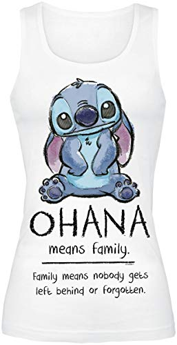 Lilo and Stitch Ohana Means Family Frauen Top weiß S 100% Baumwolle Disney, Fan-Merch, Filme