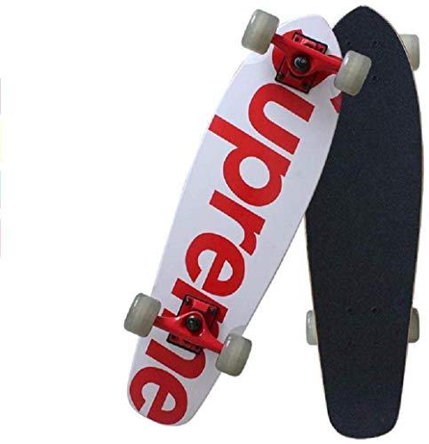 SHLYXY Kinderskateboard, Double Kick Skateboards, 7-lagiges 27-Zoll-Skateboard aus Ahorn für Extremsport-Skateboards für Erwachsene Jungen im Freien