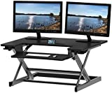 SHW Height Adjustable Sit to Standing Desk Converter Riser Workstation, Black