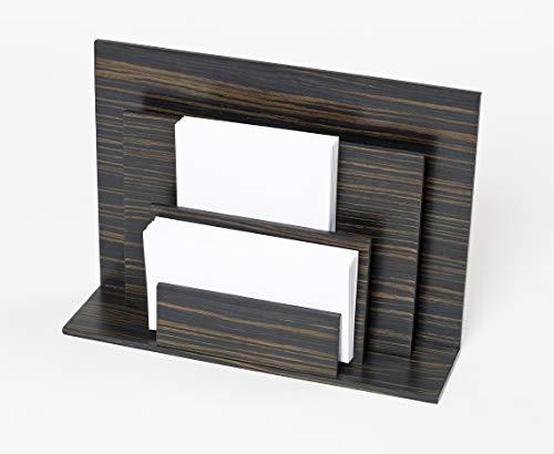 iWOODESIGN Portatarjetas de madera de lujo para escritorio, 3 niveles, organizador de correo de escritorio, organizador de escritorio de madera para oficina y hogar, color oscuro