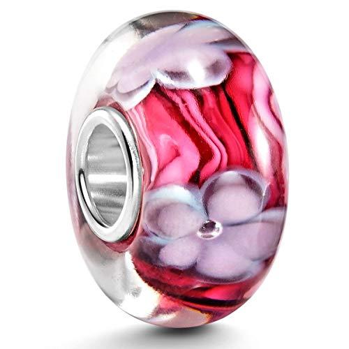 Murano Bead LILA Rosa - Objetos de cristal de murano beads element diseño de flores en Lila Rosa con{925} tapa de plata #967
