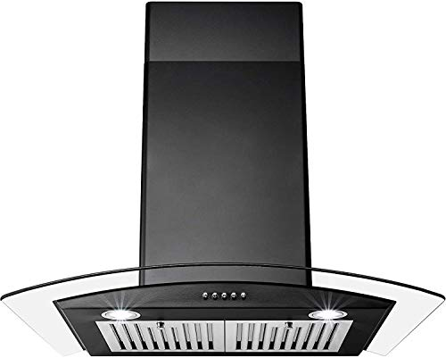 Perfetto Kitchen and Bath 30 in. Convertible Wall Mount Range Hood in Black Painted Stainless Steel with Tempered Glass and Push Button Control