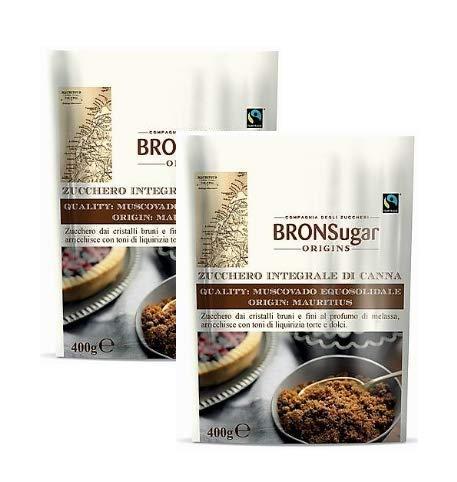 Compagnia degli Zuccheri Bronsugar Canna Sucre intégral Muscovado Equosolidale Origine Maurice Cristaux bruns et finis à la réglisse - 2 x 400 grammes