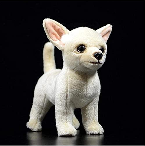 NC277 Chihuahua Perro Mini Perro niños Juguetes de Peluche de Peluche Crema Lindo Encantador Regalo para niños Relleno Realista muñeca Animal caniches Regalo Alto 25Cm