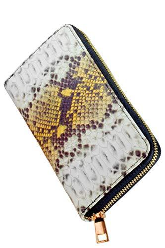 collezione alessandro Echt Leder Geldbeutel Lissabon modisch mit Schlangen Prägung auf Rindsleder 20cm x 11cm x 2cm